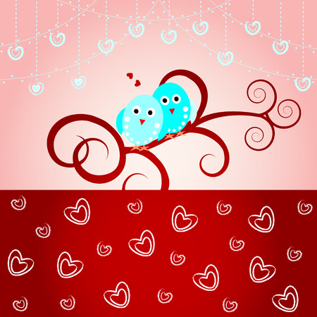 Loving birds-Wedding card, valentine card Illustration