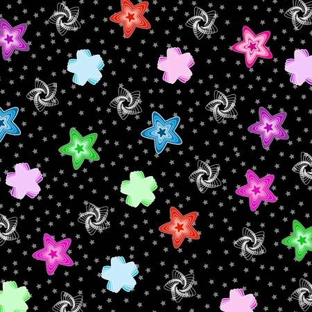 Colorful pattern with stars on black background  イラスト・ベクター素材
