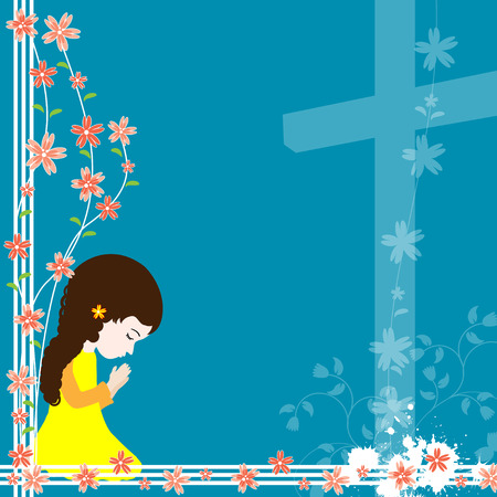 Girl kneeling and praying to god with space for your text Illustration