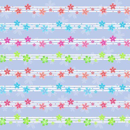 petites fleurs: Colorful motif de petites fleurs sur fond bleu Illustration