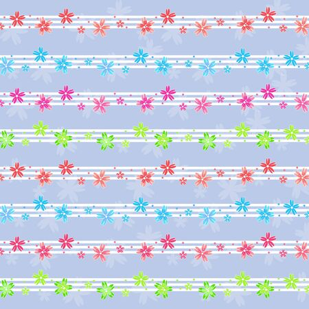 Colorful small flowers pattern on blue background