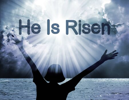 christ is risen easter: He is risen-Easter background with text he is risen
