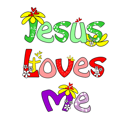 believes: Jesus is love with flower text design isolated on white Illustration