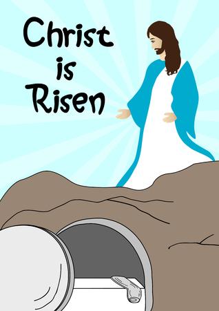 Resurrection of Jesus Christ-Jesus is risen  イラスト・ベクター素材