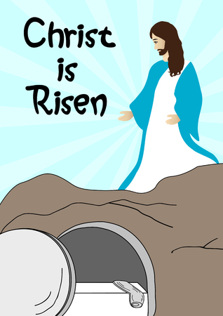 artistic jesus: Resurrection of Jesus Christ-Jesus is risen Illustration
