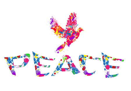 Peace dove-Splash paint dove with the word peace isolated on white  イラスト・ベクター素材