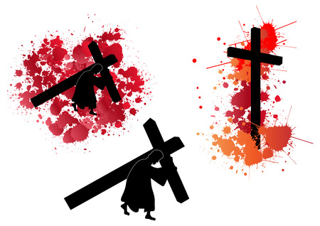 Jesus carrying the cross with splash blood background