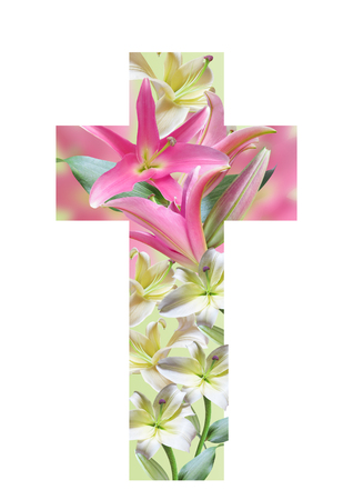 Christian cross made from lily flowers. Easter Cross.Religious Cross