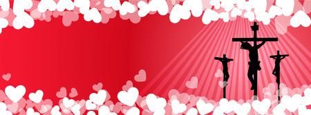 jezus: Jezus Chrystus Ukrzyżowania z serca tła -Dobra Friday.Love Concept. Ilustracja