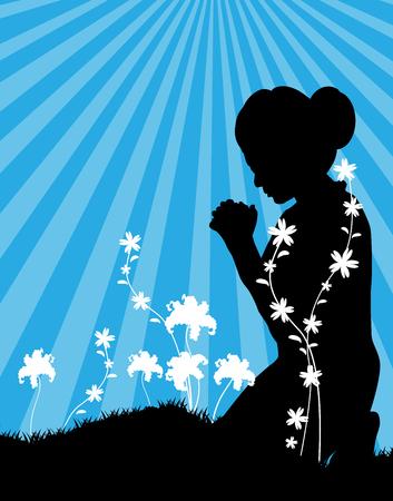 mujer arrodillada: Oración-A mujer arrodillada y rezando a Dios