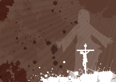 risen: Frame with Jesus Christ crucifixion and resurrection with space for your text Illustration