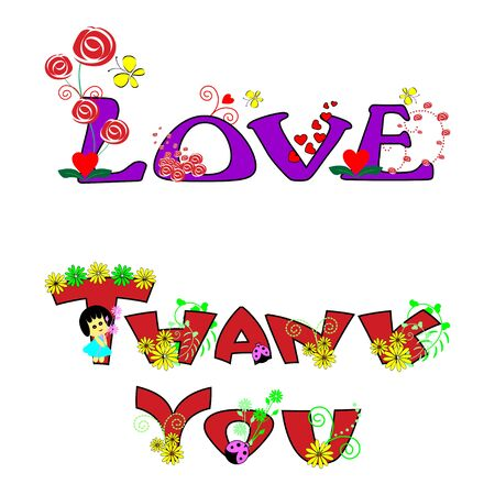Thank you and love with butterfly and flower text design Illustration