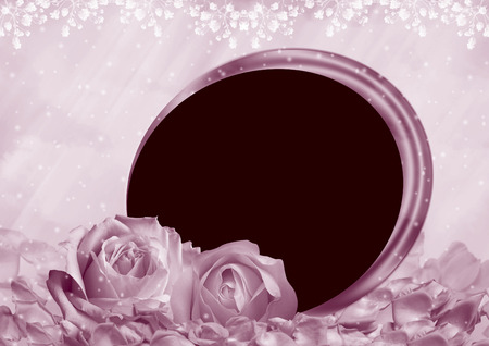 Photo frame with roses on romantic background 写真素材