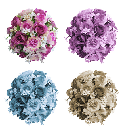 Bridal bouquet of roses isolated on white background