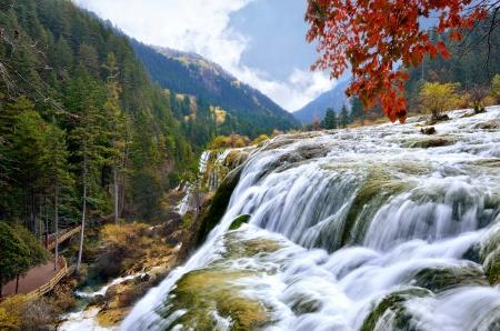 Pearl waterfall in Jiuzhaigou National Park Archivio Fotografico