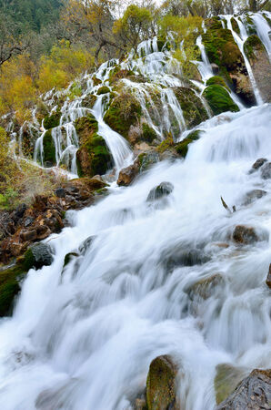 Pearl waterfall in Jiuzhaigou National Park,Sichuan China photo
