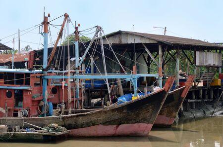 Fishing Boat park along the river at Bagan, Sekinchan Kuala Selangor