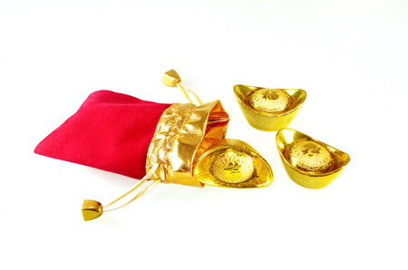 red packet: Chinese gold ingots with red packet