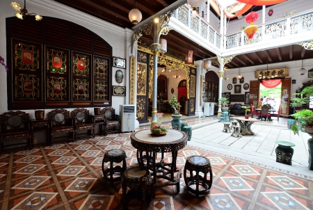 Penang,Malaysia - December 29, 2011  There is a wide space courtyard when entering the Pinang Peranakan Mansion in Georgetown, Penang