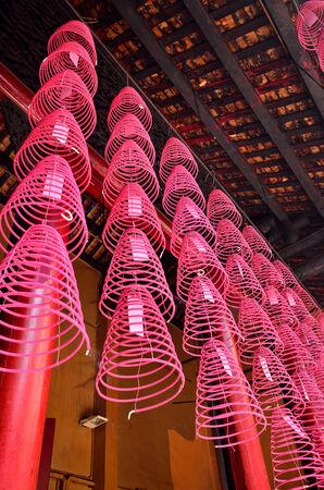workship: Burning spiral incense in Guan Di Temple Kuala Lumpur,Malaysia