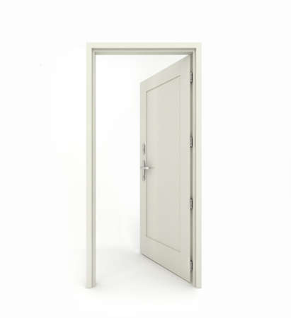 3D rendering freestanding open door isolated on white background photo