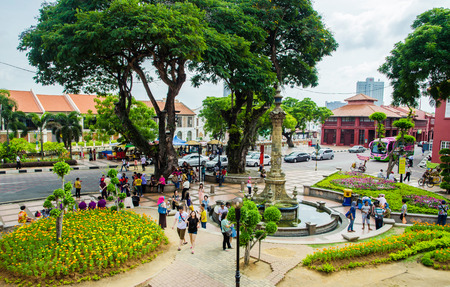 traditionally dutch: Malacca,Malaysia - June 15, 2014  Afternoon view of the Dutch Square Tourists and local people can seen around the Dutch Square  It s capital Malacca Town, listed as a UNESCO World Heritage Site  Editorial