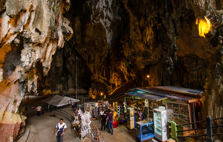 Kuala Lumpur,Malaysia - August 3, 2014  There are some Souvenir stalls in Batu Caves Kuala Lumpur and people can seen exploring around the Batu Caves