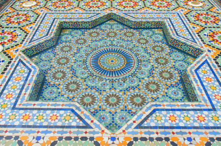 malaysia culture: Selangor,Malaysia - October 5, 2014: A beautiful pool decorated with marbles and mosaic, which is Moraccan architecture located at Moraccan Pavilion in Putrajaya Malaysia.