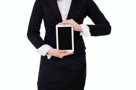 Business woman holding Digital Tablet isolated on white background photo