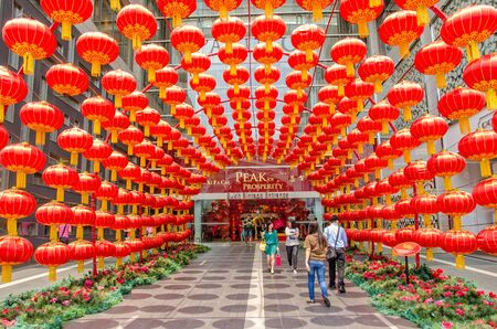 kl: Kuala Lumpur,Malaysia - February 26,2015 :Decoration of the red lantern for Chinese New Year in the entrance of the KL Pavilion.In Chinese Horoscopes 2015 is the year of the Goat. People can seen exploring around it. Editorial