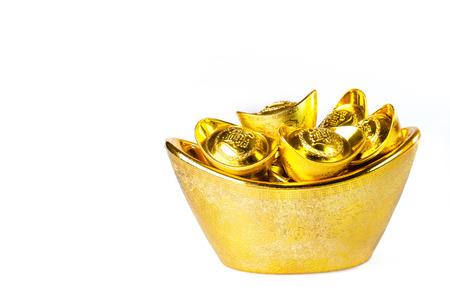 ingots: Chinese gold ingots decoration isolated on white background Stock Photo