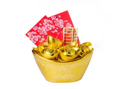 Chinese gold ingots decoration isolated on white background Stock fotó