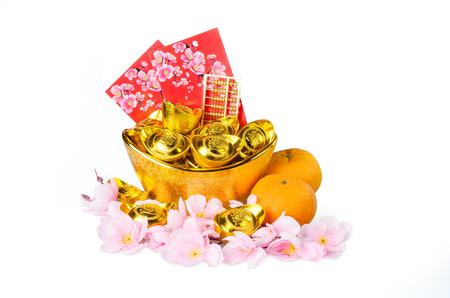 Chinese gold ingots decoration isolated on white background Archivio Fotografico