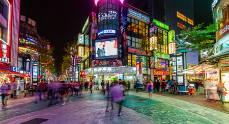 Taipei,Taiwan - March 16,2015 : Night scene of the Ximending.People can seen walking and shopping around it.
