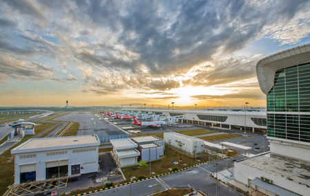 Kuala Lumpur,Malaysia - March 11,2015 : Early morning ,beautiful sunrise in the Kuala Lumpur International Airport 2 (KLIA 2) in Sepang. Sajtókép