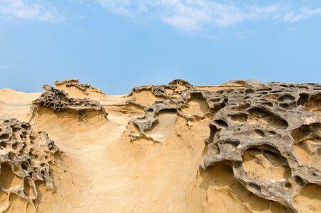 weathering: Honeycomb weathering rocks in Yehliu Geopark, Taiwan.