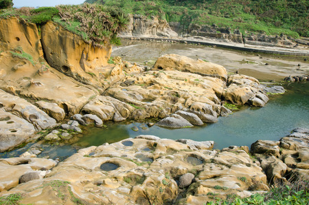 abrasion: Ho Ping Island Hi Park located in Keelung,Taiwan. It is set up along the coast as a seashore park. Stock Photo