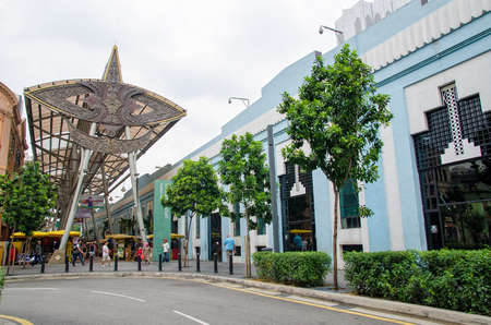 central market: Kuala Lumpur, Malaysia - July 13, 2015: People can seen walking and shopping around Kasturi Walk alongside Central Market,Kuala Lumpur