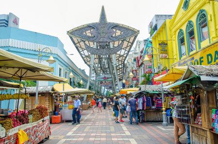 market place: Kuala Lumpur, Malaysia - July 13, 2015: People can seen walking and shopping around Kasturi Walk alongside Central Market,Kuala Lumpur