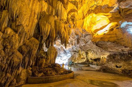Interior of the Kek Lok Tong which is located at Gunung Rapat in the south of Ipoh. Beautiful limestone formations are the main attractions of Kek Lok Tong Cave Temple.