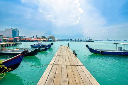 chew: Penang,Malaysia - July 17,2015 : Boats at the Chew Jetty which is one of the UNESCO World Heritage Site in Penang.