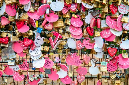 in the open air: Penang,Malaysia - July 18,2015 : Love Lock at the open air observation deck of the Penang Hill Food Centre.