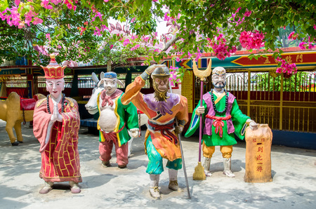 sen: Ipoh,Malaysia - July 16,2015 : Colorful statues of characters from Chinese mythology Journey to the West which is located at Ling Sen Tong Cave Temple, the temple located at the Gunung Rapat area.