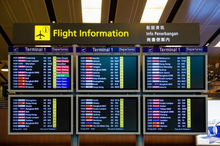 arrival departure board: Singapore - September 16,2015 : Arrival Departure Board showing departing flights in Changi Airport, Singapore.
