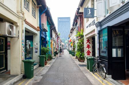 sg: Singapore - September 15,2015 : Haji Lane is a shopping street in the heart of Singapores Kampong Glam Arab Quarter,it famous for shops,cafes and restaurants.