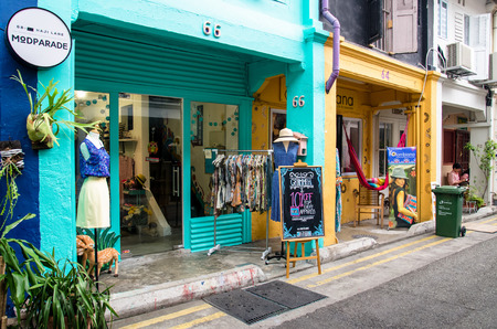 sg: Singapore - September 15,2015 : Fashion shop  which is located in Haji Lane. It is shopping street in the heart of Singapores Kampong Glam Arab Quarter famous for shops,cafes and restaurants.