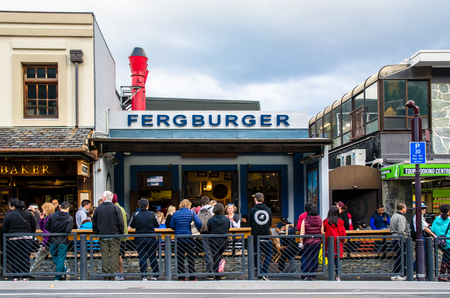 Queenstown,New Zealand - April 24,2016 : People can seen queuing and waiting their foods in front of the Fergburger's restaurant in Queenstown.
