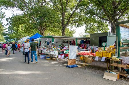 sunday market: Christchurch,New Zealand - April 17,2016 : The Riccarton Market on Sunday which is located at Christchurch is the biggest market of its kind in New Zealand,there are selling wide variety of goods. Editorial