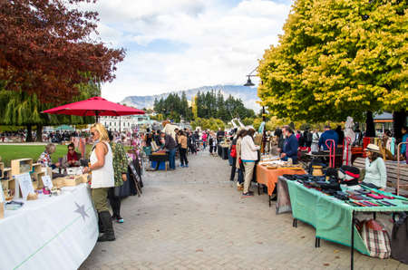 lake front: Queenstown,New Zealand - April 22,2016 : Creative Queenstown Arts and Crafts Markets which is located at the lake front at Earnslaw Park in Queenstown. There are selling wide variety of goods.