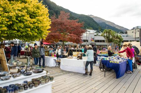 new zealand flax: Queenstown,New Zealand - April 22,2016 : Creative Queenstown Arts and Crafts Markets which is located at the lake front at Earnslaw Park in Queenstown. There are selling wide variety of goods.